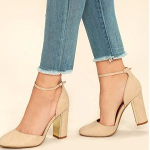 Never worn! Lulu's Nude Suede Ankle Strap Heel
